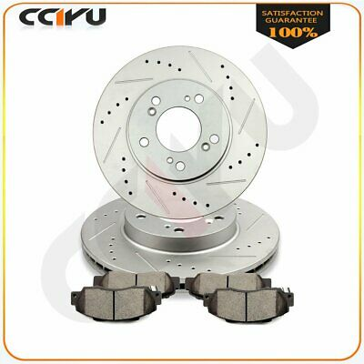Front Kit Drilled And Slotted Brake Rotors Ceramic Pads For Acura Honda Odyssey