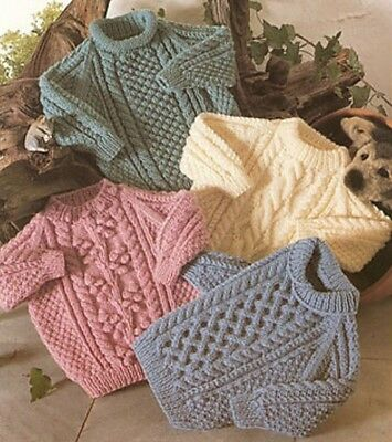 ARAN Vintage knitting pattern jumpers sweaters cable baby to 10 years