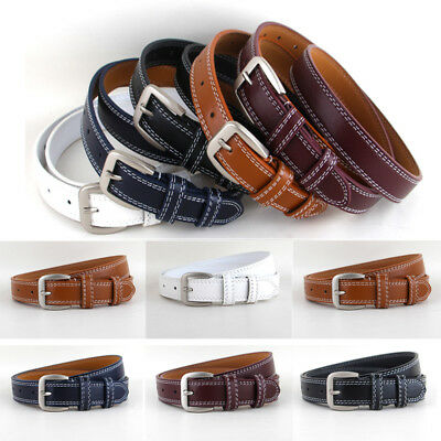 Ladies Classic Pin Buckle Faux Leather Belt Fashion Women Skinny Waistband NEW