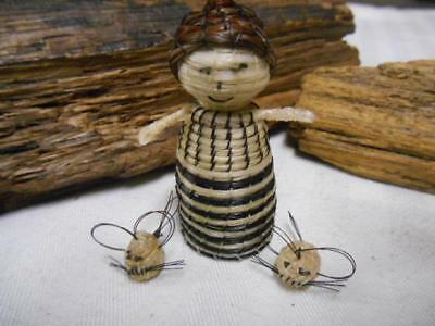 Hand Woven PAGAGO Native Horse Hair PEOPLE Mice MINIATURES 3pc GIRL Detailed