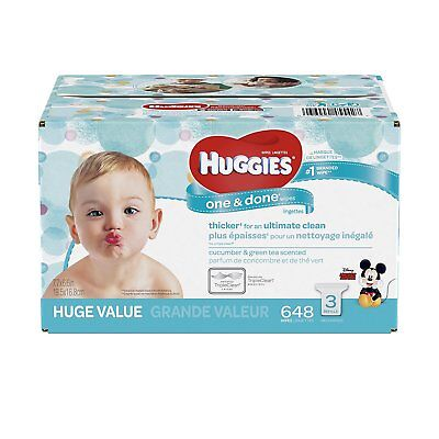 HUGGIES One and Done Refreshing Baby Wipes, 3 Refill Packs 648 Sheets Total,