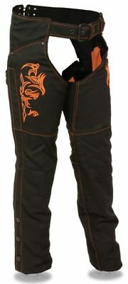 Milwaukee Womens Textile Chaps Tribal Embroidery & Reflective Detail Orange