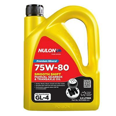 Nulon 75W-80 Smooth Shift Manual Gearbox and Transaxle Oil 2.5L SS75W80-2.5 Free
