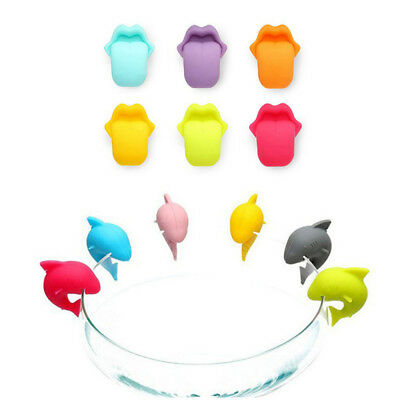 6 pcs/set  Silicone Wine Glass Bottle Drink Markers Charms Cup Identify-Label