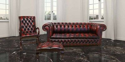 Chesterfield 3+ York Slipper+Footstool Real 100% Leather Handmade Sofa Suite