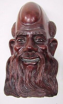 Old Carved Asian Dark Wood Man Exquisite Detailing Eyes Teeth 7A