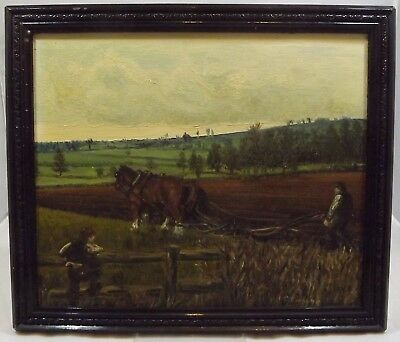 Vintage Framed Oil On Board Painting 'ploughing Near Cropredy' By C. Gregg 1975
