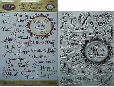 JustRite Clear rubber Stamp Set FAMILY & OCCASIONS mothers day sister easter Dad