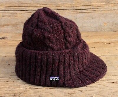 PATAGONIA CABLE KNIT Wool Blend Beanie Hat w Brim One Size Fits All ... fa3fadd33a06