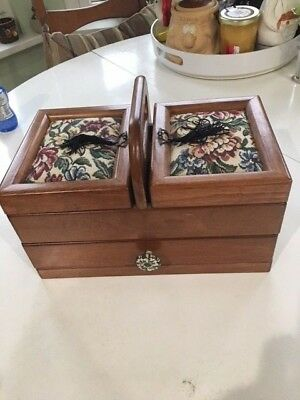Brand NEW Vintage Wooden Sewing Box with pillow tapestry top, drawer and  hinged