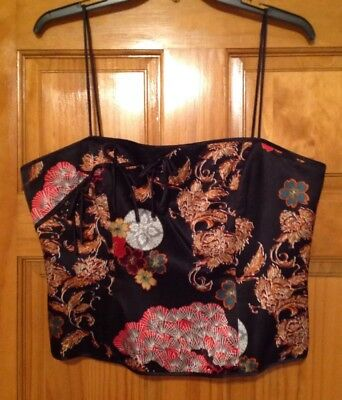 NWOT JS Collections Satin Asian-Themed Black Multi Formal Bustier Top 14