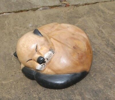 Hand Carved Wooden Sleeping Cat Ashes Urn Memorial