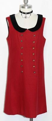 RED Boiled WOOL Dirndl DRESS German Bavarian Winter A LINE Straight Shift 8 S