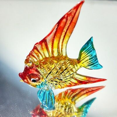 Tiny crystal fish hand blown glass art figurine aquarium miniature collection