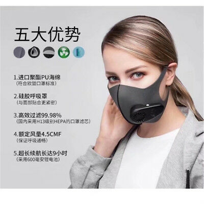 Entirely New Intelligent PM 2.5 ANTI HAZE MASK Rechargeable Air Fliter Mask