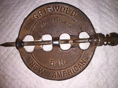 "5"" Cast Iron Stove Pipe Damper Vintage Griswold New American Made In ERIE PA"