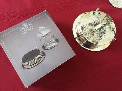 7-piece silver-plated Coaster Set with Stand