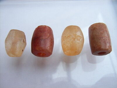 4 Ancient Neolithic Rock Crystal, Carnelian Beads, Stone Age, VERY RARE!  TOP !
