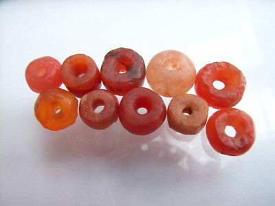 10 Ancient Neolithic Carnelian Beads, Stone Age, VERY RARE!  TOP !