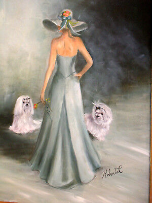 Maltese with lady  limited edition print dog art print with double designer mat