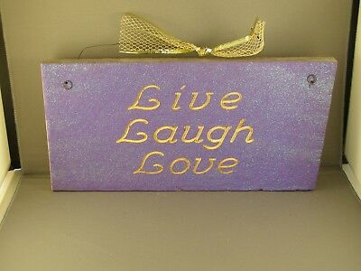 Live, Laugh, Love, Routed Rustic Wood Sign - Painted Purple With Glitter.