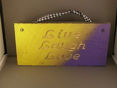 Live, Laugh, Love, Routed Rustic Wood Sign - Yellow And Purple