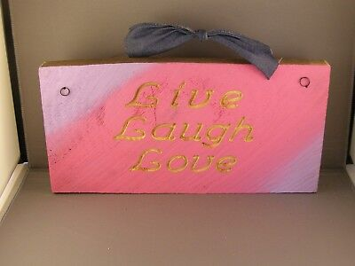 Live, Laugh, Love, Routed Rustic Wood Sign - Lilac And Pink