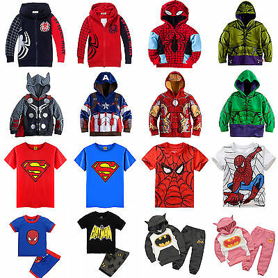 Boy Kids Superhero Hoodies Jacket Coat Sweatshirt T Shirts Spiderman Cosplay Set