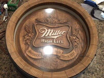 Vintage Antique MILLER HIGH LIFE BEER Barrel light up Sign decor collectible