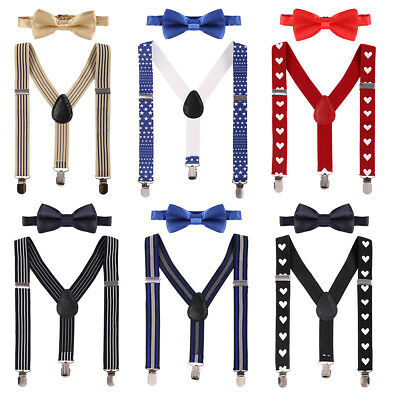 Kids Baby Toddler Boys Clip-on Suspenders Elastic Adjustable Braces With Bow Tie
