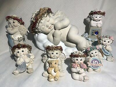 Unique Lot of 8 Dreamsicles Figurines Kristen Hand Painted Plaster Cherubs
