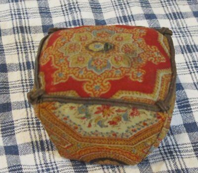 Antique c 1860-80s Paisley PIN CUSHION EXHIBITED Turkey Red Cheddar