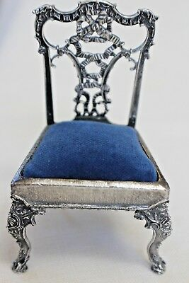 Antique Victorian Figural Sterling Silver Chair Pin Cushion Vintage Sewing