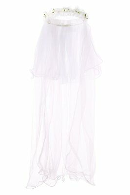 2-Tier Kate First Communion Veil with Floral Wreath Headband for Flower Girls