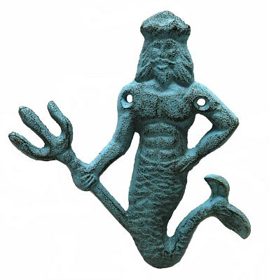 Blue King Neptune Cast Iron Decorative Wall Hook
