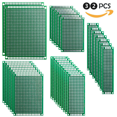 Elegoo 32 Pcs Double Sided PCB Board Prototype Kit for DIY Soldering with 5 Size