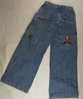 VTG JNCO Flamehead Patch Baggy Old School Skater Denim Jeans 90s 26 Inch SZ 16