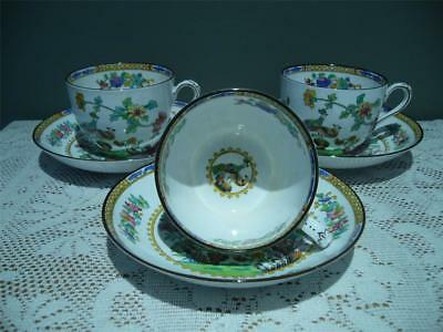 Spode England Bone China Floral Duo's X 3 - 'peacock' - 1935 / 36 -  Good Cond