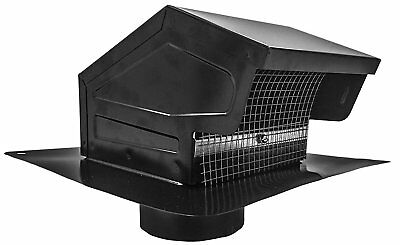 Roof Vent Cap Black Galvanized Steel with 4-inch Diameter Collar Made in USA NEW