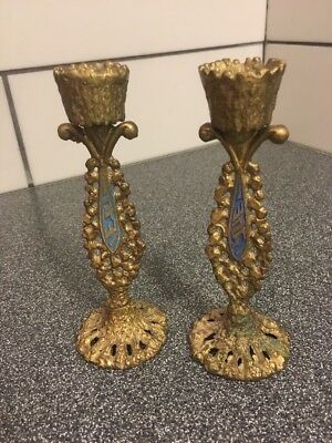"MID CENTURY PAIR OF SOLID BRAS JUDAICA SHABBAT CANDLE STICK HOLDERS 5 3/8"" Tall"