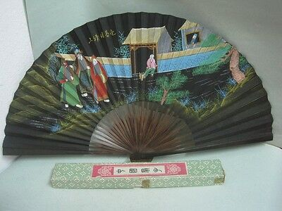 Antique chinese fan in wood and paper hand painted Written on the back