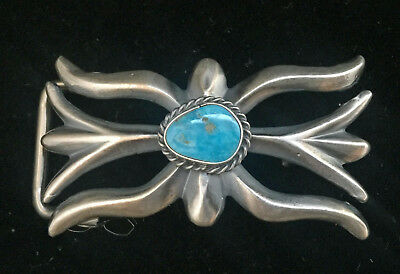 "Navajo Sandcast Buckle by Harrison Bitsui Sterling & Turquoise: ¾ oz: ¾"" Belt"