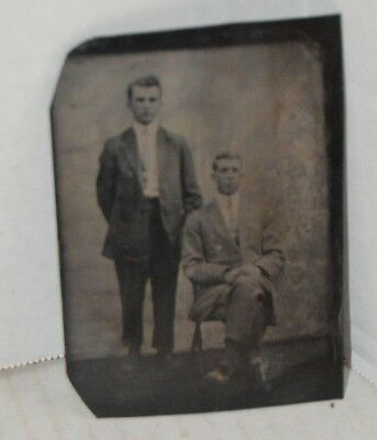 Antique 19th Century Tin Type Picture of 2 Men
