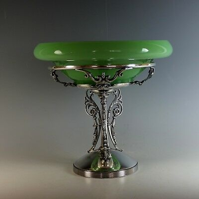 Rare Large Simpson Hall Miller & Co Silver Plate Center Piece with Green Glass