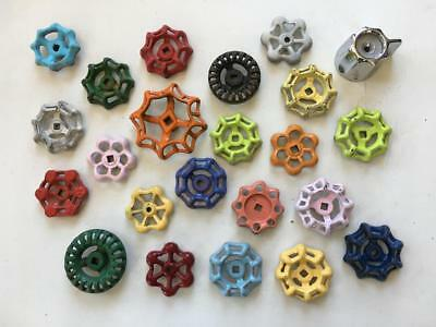 23 Vintage Water Valve Handles Knobs Steampunk Industrial Art Colorful