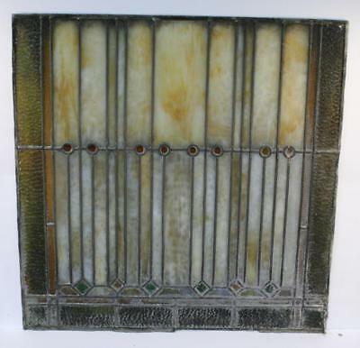 """Vintage Antique Leaded Stained-Glass Window Panel 24"""" x 24""""– Unframed-07"""