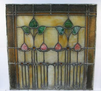 """Vintage Antique Leaded Stained-Glass Window Panel 24"""" x 24""""– Unframed-14"""