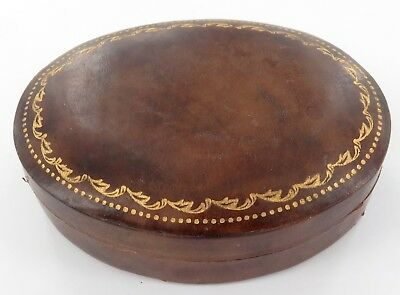 .QUALITY EARLY 1900's ITALIAN LEATHER GOLD GILT TRINKET BOX.