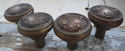FOUR Old Vintage Antique ORNATE CAST BRONZE Roses Vines FRENCH Petite DOOR KNOBS