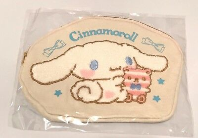 Sanrio, Fuzzy Cinnamoroll Fabric Cream Cosmetic Pouch or Bag, 8 x 6 inches, 2016